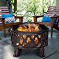 Costway 71cm Large Fire Pit With Protective Cover And Poker Upgraded Steel Outdoor Patio Heater Burner For Wood And Charcoal In Garden Black by COSTWAY
