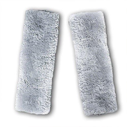 HLZDH 1 Paar Gurtpolster Auto Sicherheitsgurt Bügel Gurtschutz, Gurtpolster Schulterpolster Soft Faux Lammfell Schlafkissen Nackenstütze für Kinder (grau) -