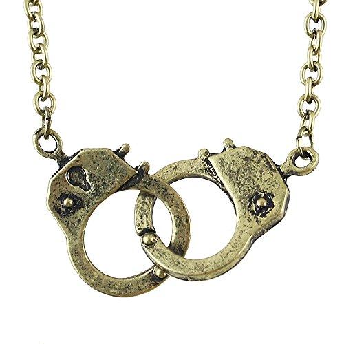 Handschellen Doppel Anhänger Halskette Charms Anhänger für Bettelarmband (bronze)
