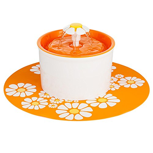 Pawsfiesta 1.6 L Flower Style Automatic Electric Pet Water Fountain Dog/Cat Drinking Bowl With Flower Mat, Orange