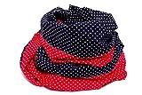 Lieblingsmanufaktur Damen Punkte Loopschal Rot Blau - Ein Loop Schal bunt und farbenfroh, aus reiner Baumwolle. Macht Deine Welt fröhlicher. HERGESTELLT in unserer kleinen Manufaktur in Erfurt
