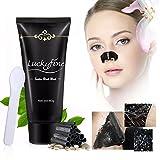Maschera Punti Neri, LuckyFine Maschera Carbone Viso, Pulitore di rimozione di comedone Maschera viso purificante per fango nero + Cucchiaio 60g