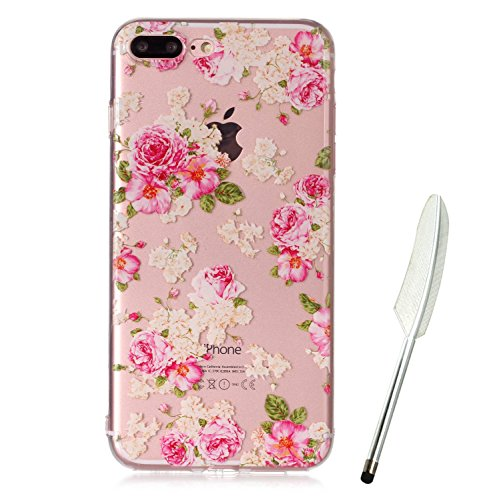 iPhone 8 Plus Hülle (5,5 Zoll), iPhone 8 Plus hülle durchsichtig mit Muster, Edaroo Cartoon Blumen Blätter Tiere Bunt Muster Soft Silikon Gel Weich TPU Schutzhülle Handy Cover Rückseite Handyhülle Etu Rose