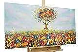 KunstLoft® Acryl Gemälde 'Feld der Facetten' 120x60cm | original handgemalte Leinwand Bilder XXL | Baum Wiese Himmel Bunt Blau Natur | Wandbild Acrylbild moderne Kunst einteilig mit Rahmen
