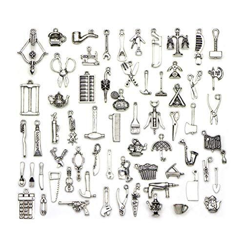 SUPVOX 65pcs Antique Silver Charms Schmuckherstellung Alloy Tool Charms Anhänger für DIY Schmuckherstellung Zubehör Silber