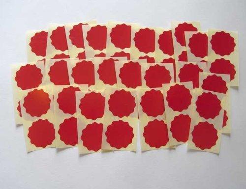 51 mm, bordo ondulato, rosso scuro, finitura lucida, motivo con certificato Company-Etichette, Adesivi per goffratura, Awards & Rewards - Goffratura Cera