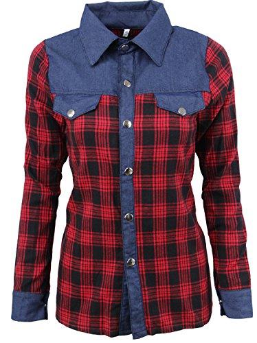 Boyfriend Style Langarm Denim Jean Spliced Plaid Tartan Gingham Check Kariert Baumwolle Blouse Bluse Shirt Hemd Oberteil Top Rot Blau L (Plaid Gingham Blau)