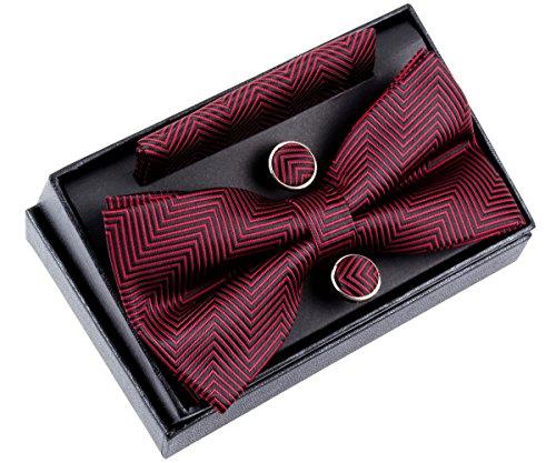 Retreez Herren Gewebte vorgebundene Fliege Fischgrätmuster Gestreifte 13 cm und Einstecktuch und Manschettenknöpfe im Set, Geschenkset, Weihnachtsgeschenke - schwarz und rot