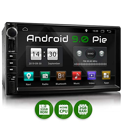 XOMAX XM-2VA757 Autoradio con Android 9 I Quad Core, 2GB RAM, 32GB ROM I Navigatore GPS I Supporto...