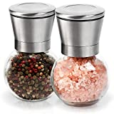 Wsky Salt and Pepper Grinder Set, Salt and Pepper Mill, Stainless Steel with Adjustable Coarseness and Spherical 200ml Large Capacity (2 Pack)