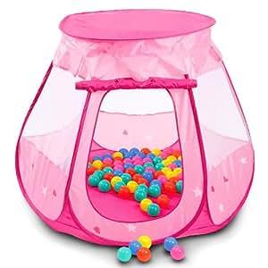 Tente de jeux pour enfants Tente + 100 balles assorties – Jeu à balles