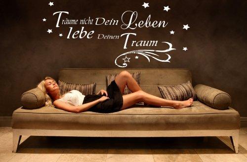 680023-58×30 cm Wandtattoo fürs Wohnzimmer ~ Zitat: Träume nicht Dein Leben lebe Deinen Traum + Sterne ~ Wandaufkleber Sprüche Wandtatoos Sticker Aufkleber für die Wand, Fensterbild,