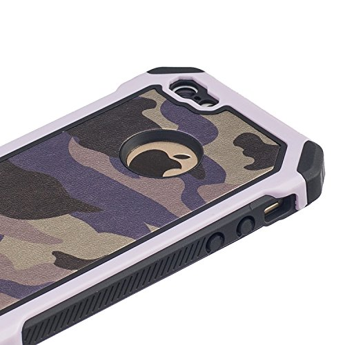 MOONCASE iPhone 6S Custodia, Camuffamento Dual Layer Case ibrida Rigida Morbido TPU resistente agli urti e asportabile di protezione Cover per iPhone 6 6S 4.7 Verde Bianco