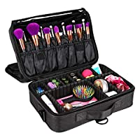 Make up Case Large Makeup Bag 3 Layers Cosmetic Organizer Beauty Artist Storage Brush Box for Hair Curler, Brush Set and Cosmetics with Shoulder Strap ...