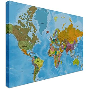 New ikea premiar world map picture with framecanvas large 55 x 78 world map highest detail online hi res quality canvas wall art pictures 48 x 30 inches gumiabroncs Image collections