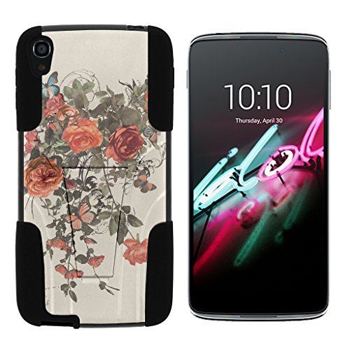 Alcatel OneTouch Idol 3 Fall (14 cm) [Gel Max Cover] Dual Layer Hybrid Silikon Hard Shell Schutzhülle Ständer Cool Designs von turtlearmor -, Elegant Roses - Camo Alcatel Touch One