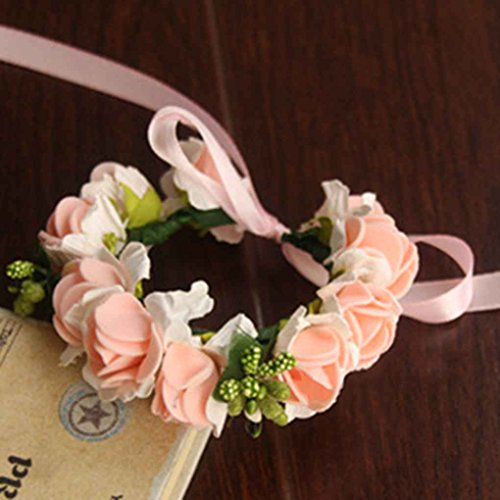 Ribbon-blumen-stirnband (Omkuwl Rose Blumen Stirnband Armband mit Ribbon verstellbare Girlanden für Holiday Party Armband & rosa)