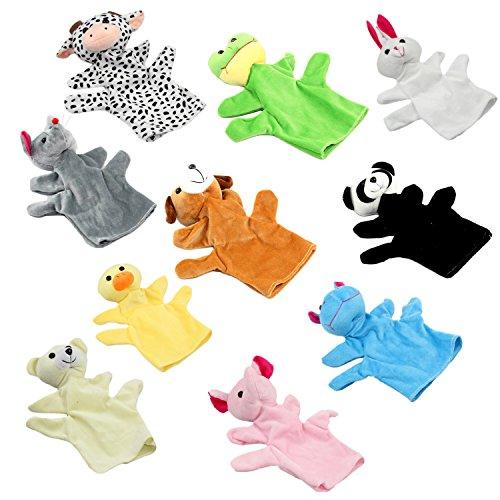 Beetest 10PCS Stili Animali Assortiti Bambini Burattini Mano Bambola Giocattoli per Fantasia Gioca Spettacolo Marionetta Genitore-figlio