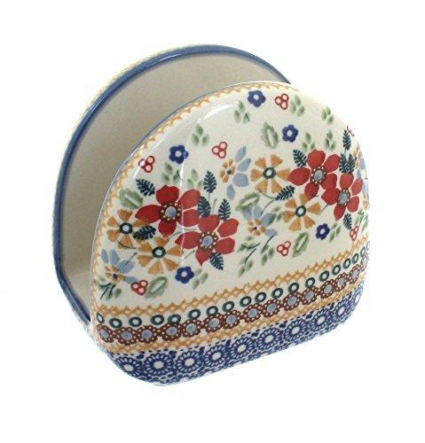 polish-pottery-red-daisy-napkin-holder-by-blue-rose-pottery