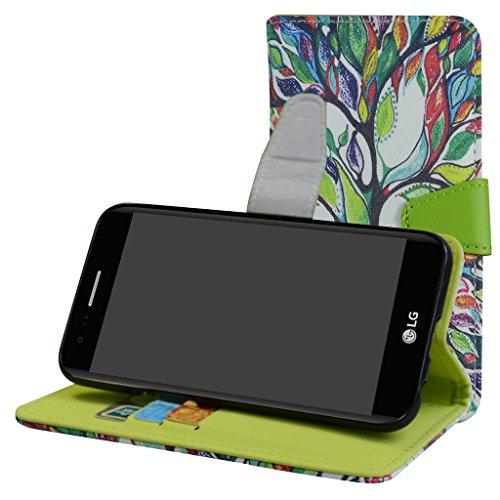 LG K8 2017 / LG K4 2017 / LG Rebel 2 / LG Phoenix 3 / LG Fortune / LG Risio 2 / LG Aristo / LG X300 Funda,Mama Mouth PU Cuero Billetera Cartera Monedero Con Soporte Funda Caso Case para LG K8 2017 / LG K4 2017 / LG Rebel 2 / LG Phoenix 3 / LG Fortune / LG Risio 2 / LG Aristo / LG X300 Smartphone,Love Tree