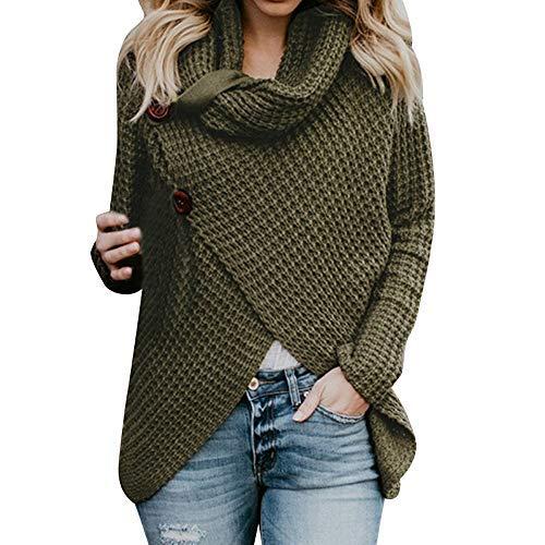 iHENGH Damen Herbst Winter Übergangs Warm Bequem Slim Mantel Lässig Stilvoll Frauen Langarm Solid Sweatshirt Pullover Tops Bluse Shirt (XL, Grün)