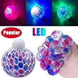 YUYOUG Kids Adult Funny LED Glowing Squishy Grape Squeeze Ball Mesh Stress Relief Toy Anxiety Ball
