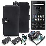 K-S-Trade 2in1 Handyhülle für BlackBerry KEY2 (Dual-SIM) Schutzhülle & Portemonnee Schutzhülle Tasche Handytasche Case Etui Geldbörse Wallet Bookstyle Hülle schwarz (1x)
