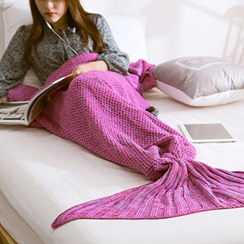 Mermaid Tail Coperta a Mano Knit Crochet Aria Condizionata Della Sirena Coperte con Bilancia Sofa Quilt per Tutte le Stagioni Molle Sveglio Caldo Accogliente Sacco a Pelo per Bambini Adulti di Xuanlan