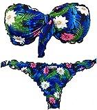 Bikini donna Lotus fascia arricciato Fior di Loto Floreale con slip o brasiliana | Made in Italy