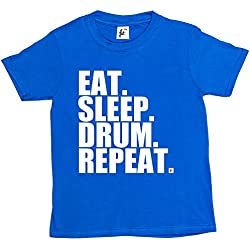 Fancy A Snuggle Eat. Sleep. Drum. Repeat. Rock Drummer Heavy Metal Kids Boys / Girls T-Shirt Royal Blue 12-14 Year Old