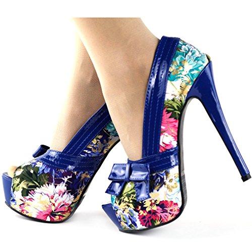 Voir l'établissement histoire motif Floral multicolore arc Peeptoe plate-forme pompes Party, LF80824 Bleu