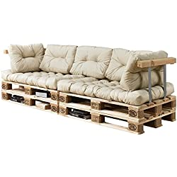 [en.casa]®] Sofá de palés - europalés de 3 plazas con Cojines - (Beige/Crema) Set Completo, incluidos apoyabrazos y Respaldo