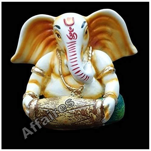 Affaires G-529 Ganesha-Statue mit Musikinstrument für Heimdekoration, Ganpati Idol spielt Dholak