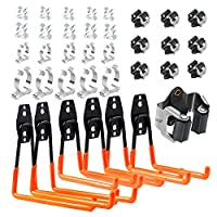 12 pack Steel Garage Storage Utility Double Hooks Organizer,6 Mop Broom Holder Heavy Duty Wall Mount Tool Holder for Organizing Power Tools,Ladders,Bulk items