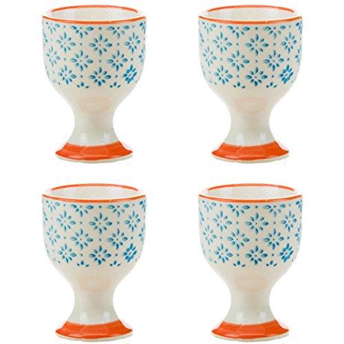 Nicola Spring Porzellan Frühstück Eierbecher in blau/orange Muster-Druck - 4er-Pack