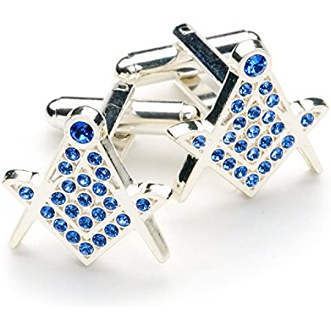 Cristallo blu massonico Gemelli, Cufflink Box - Blu Placcato Gemelli