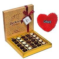 De'Arco Chocolatier Chocolates Valentine Day Gift for Girlfriend Boyfriend Husband Wife, Premium Luxury Chocolates, 25pcs + Free Fur Heart