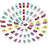 Anpro 60PCS Clips Pinces DIY Pince 2.7*1.0*1.5cm En ABS Pour Reliure Couture Artisanat 6 Couleurs Rose ,Rouge ,Bleu ,Jaune ,Violet ,Vert