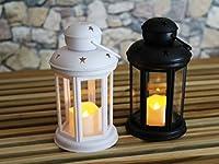 2 set (da 2 pezzi) di lanterne LED, romantiche, decorative, 24 cm x 10 cm, luce a LED effetto candela, con timer, per interno ed esterno.Lanterna ad effetto candela, con luce morbida e tremolante che rende l'atmosfera rilassante. Design raffi...