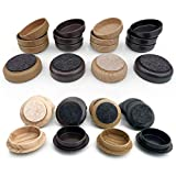Felt Floor Cups/Castors (16 x Dark Wood LARGE 60mm) - PROTECT your Wood Laminate, Wooden, Tile & Lino Floors from Scratches by Medipaq