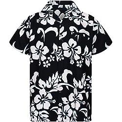 Funky Camisa Hawaiana, Hibiscus, negro , 3XL