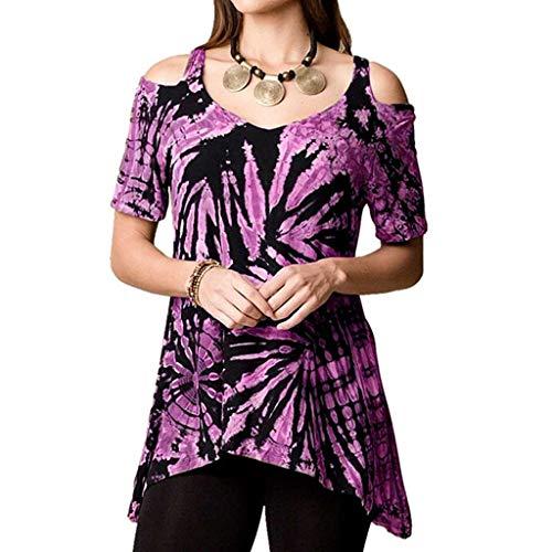 ABsoar Sexy Trägerloses Shirt Frauen Sommer Gedruckt Bluse Shirts Schulterfrei Oberteil Unregelmäßige Lässige Tie-Dye-Druck Tops Mode Tunika Streetwear (Lila,XL) - Lila Tie-dye-t-shirt