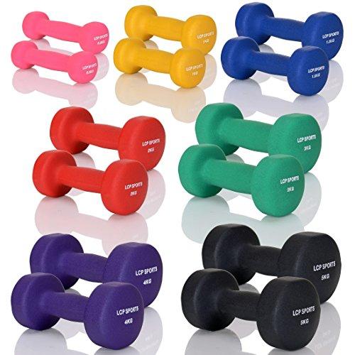 LCP Neopren Kurzhanteln Gymnastik Gummi Gewichte Soft Grip Set in 10 Gewichtsstufen: 2 x 2 kg
