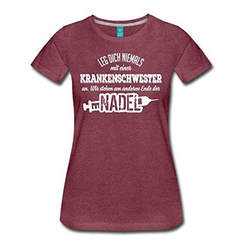 Spreadshirt Krankenschwester Ende der Nadel Spruch Frauen Premium T-Shirt, M, Bordeauxrot Meliert (Krankenschwester-nadel)