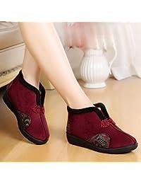 KHSKX-Zapatos De Tela En El Invierno Calor En La Anciana Madre Espesado Antideslizante Zapatos Bordados En Zapatos...