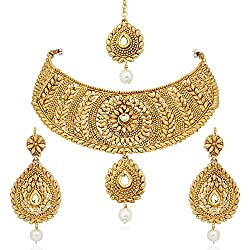 Meenaz Gold Plated Combo Of Mang Tika , Earrings , Necklace Jewellery Set For Women