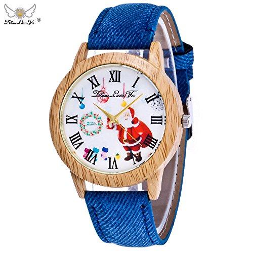 Junjie Dame Armbanduhr Männer Herren Fitness Frauen Vogue Tischuhr Smartwatch Älteres Spiegel Uhr Schnee Haus Lederband Uhren Edelstahl Armband Sport Holz Uhr minimalistischen Uhr Cowboy Strap