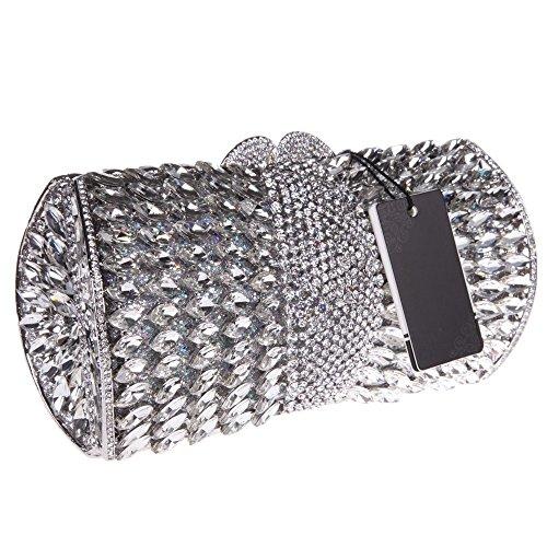 Santimon Donna Pochette Borsa A Forma Di Ventaglio Bling Borsellini Diamante Cristallo Borse Da Festa di Nozze Sera Con Tracolla Amovibile 3 Colori argento