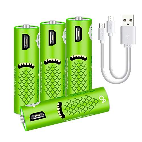 XIYIHOO wiederaufladbare AA-Batterien -1000 mAH AA-Batterien,- AA NiMH USB Batterien mit hoher Kapazität, langlebige Energie, recycelbar - (4 Anzahl)