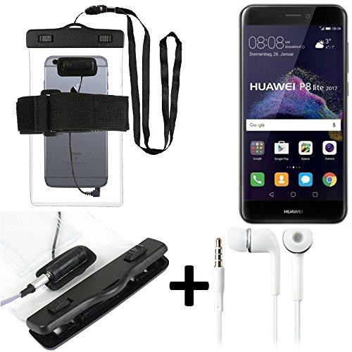 Für Huawei P8 Lite 2017 Dual SIM Wasserdichte Hülle mit Kopfhörereinlass + headset, transparent Jogging Armband Wasserfeste Handyhülle beach bag outdoor Beutel Schutzhülle Unterwasser case f
